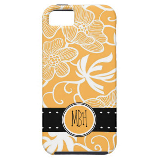 Orange & White  Floral Pattern with Initials iPhone SE/5/5s Case