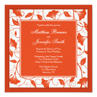 Orange & white Floral Square Wedding Invitation