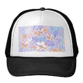 orange white flower blue leaves sketch hats