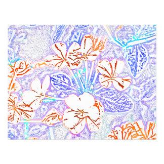 orange white flower blue leaves sketch letterhead