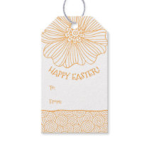 Orange White Flower Swirls Easter Gift Tags