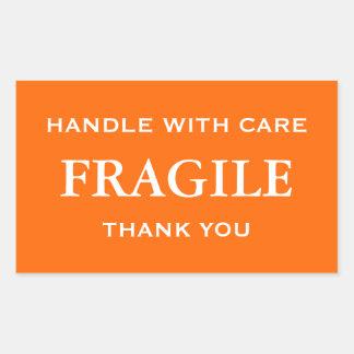 Orange/White Fragile. Handle with Care. Thank you. Rectangular Sticker