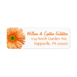 Orange & White Gerbera Daisy Custom Address Label
