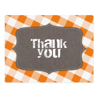 Orange & White Gingham Canvas Thank You Postcards