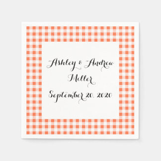 Orange White Gingham Pattern Napkin