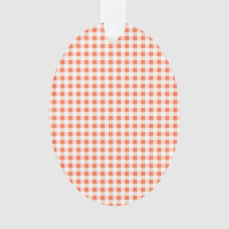 Orange White Gingham Pattern Ornament