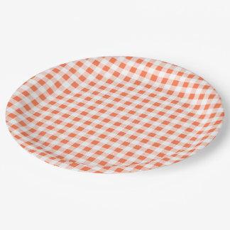 Orange White Gingham Pattern Paper Plate