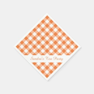 Orange White Gingham Pattern Personalized Party