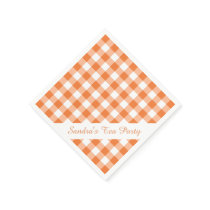 Orange White Gingham Pattern Personalized Party Paper Napkin