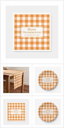 Orange White Gingham Plaid Thanksgiving Supplies