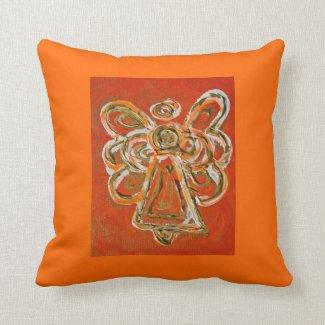 Orange, White, Gold Angel Decorative Throw Pillow