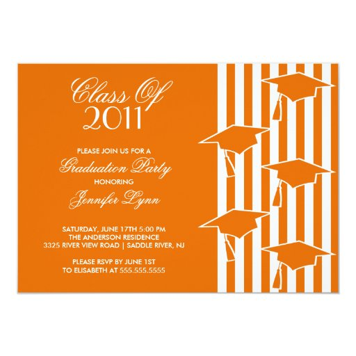 Orange & White Grad Hats Graduation Invitation