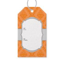 Orange White Gray Damask Gift Tags