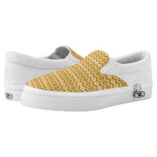 Orange, White & Green Geometric Pattern Slip-On Sneakers
