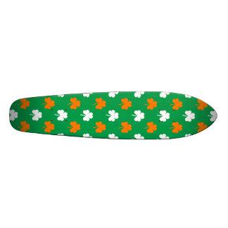 Orange & White Heart Clover on Green St. Patrick's Skateboard Decks
