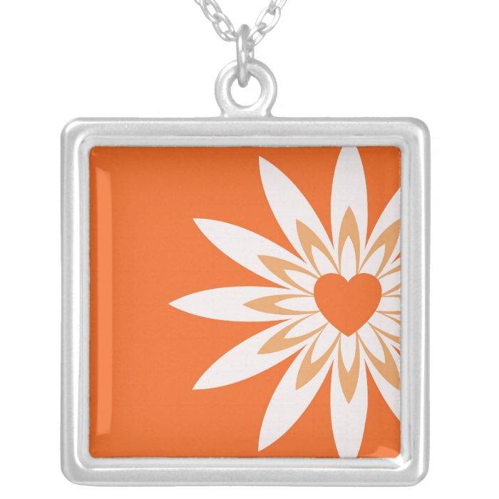 Orange & white heart in flower necklace