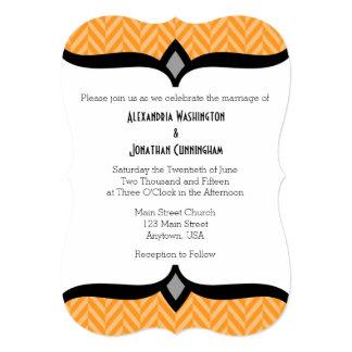 Orange White Herringbone Wedding Invitation