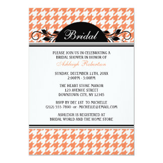 Orange White Houndstooth Bridal Shower Invitations