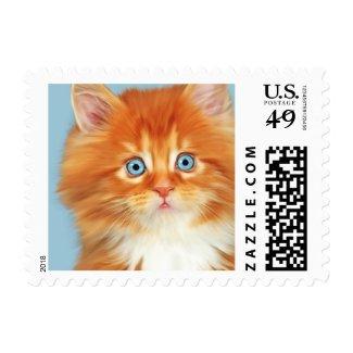 Orange White Kitten Love Blue Eyes Postage