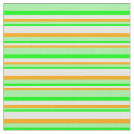 [ Thumbnail: Orange, White, Lime & Green Colored Lines Fabric ]