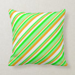 [ Thumbnail: Orange, White, Lime & Green Colored Lines Pillow ]
