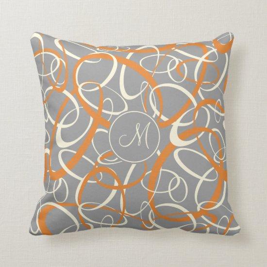 orange white loops on gray geometric pattern throw pillow