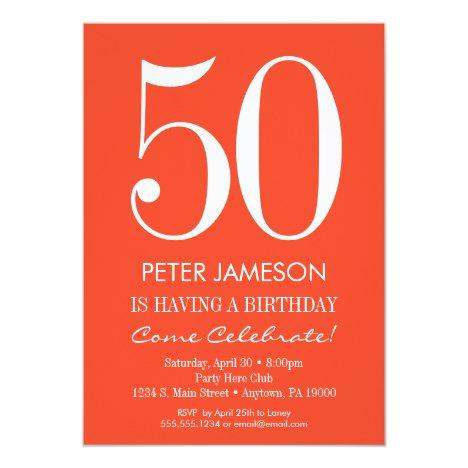Orange White Modern Adult Birthday Invitations
