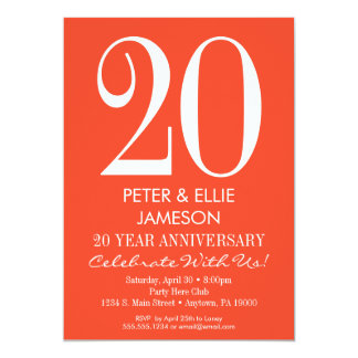 Orange White Modern Simple Anniversary Invitations