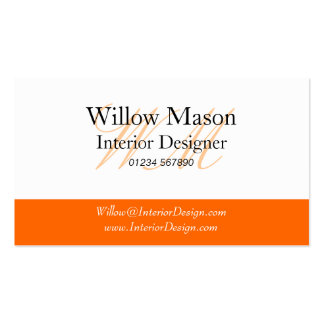Orange & White Monogram Business Card Business Cards