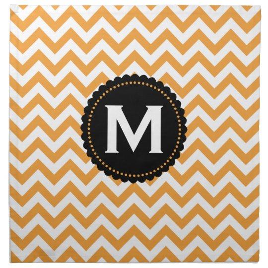 Orange White Monogram Chevron Pattern Napkin