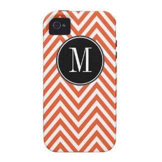 Orange White Monogram Chevron Zig Zag Pattern Case-Mate iPhone 4 Case