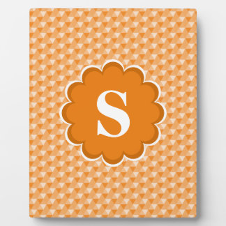 Orange White Monogram Pattern Plaque