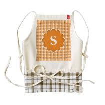 Orange White Monogram Pattern Zazzle HEART Apron