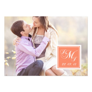 Orange White Monogrammed Photo Wedding Invitation
