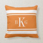 Orange White Nautical Stripes Custom Monogram Pillow