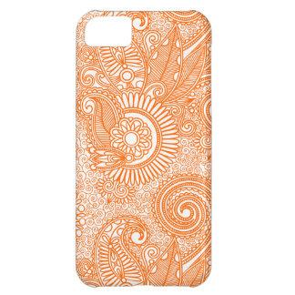 Orange & White Ornate Vintage Floral Paisley iPhone 5C Cases