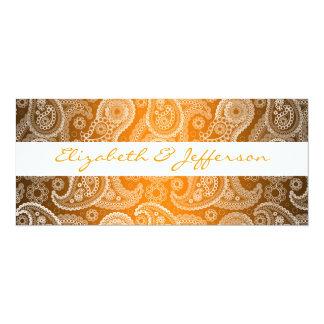 Orange & White Paisley Lace Wedding Invitation