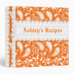 Orange white paisley with scalloped borders recipe binders