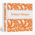 Orange white paisley with scalloped borders recipe vinyl binder