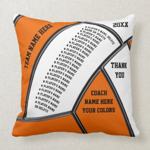 Orange White Personalized Volleyball Coach Gifts Throw Pillow