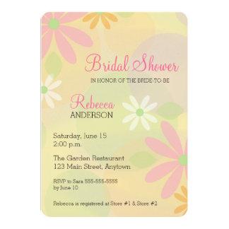 Orange, White & Pink Daisies Bridal Shower Card
