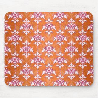 Orange White Pink Damask Pattern Mouse Pad