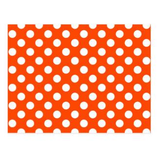 Orange & White Polka Dot Wedding RSVP Postcard