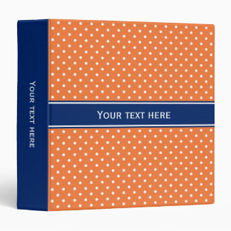Orange, White Polka Dot with Royal Blue 3 Ring Binder