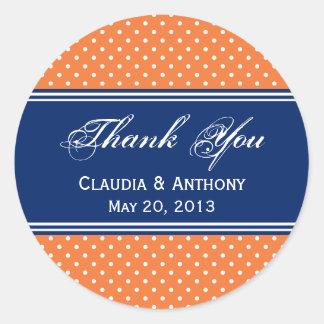 Orange, White Polka Dot with Royal Blue Classic Round Sticker
