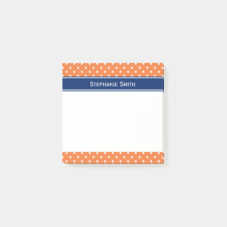 Orange, White Polka Dot with Royal Blue Post-it Notes