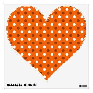 Orange white polka dots room stickers
