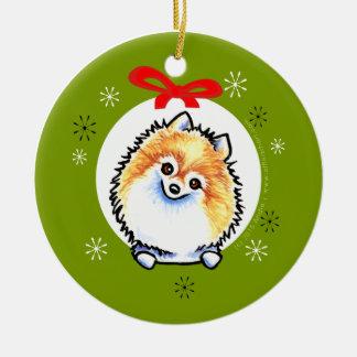 Orange White Pomeranian Christmas Classic Ceramic Ornament