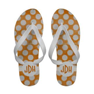 Orange White Premium Custom Monogram Flip Flops