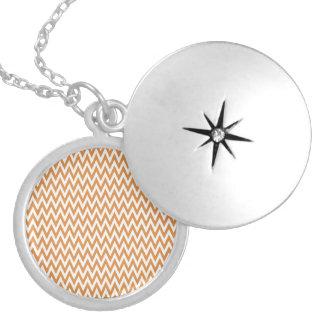 Orange White Pretty Chevron Pattern Personalized Necklace